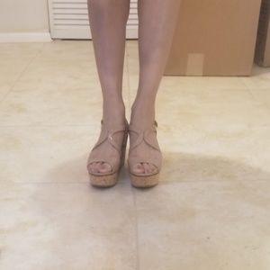 Prada nude waged sandals